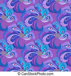 孔雀, 紫色, パターン, 羽, バックグラウンド。, seamles, すみれ