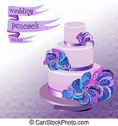 孔雀, 紫色, feathers., 結婚式のケーキ, すみれ, design.