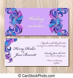 孔雀, card., printable, 招待, 羽, イラスト, ベクトル, 結婚式