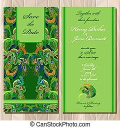 孔雀, card., printable, 招待, 羽, ベクトル, 結婚式, illustration.