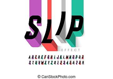 字体, 产生, 滑落