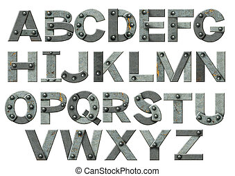字母表, -, 信件, 從, 生鏽的金屬, 由于, 鉚釘