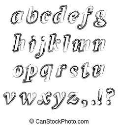 字母表, 墨水, grunge, 被隔离, 黑色