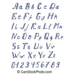字母表, 手寫, 墨水