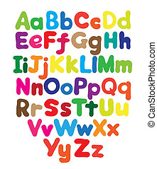 字母表, 氣泡, 上色, 手, 圖畫