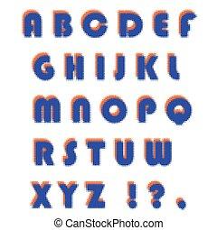 字母表, 集合, letters., 被隔离, halftone