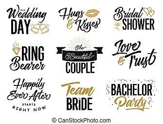 字母, 婚禮, 矢量, 集合, 短語