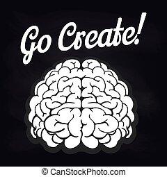 字母, 腦子, 海報, 黑板