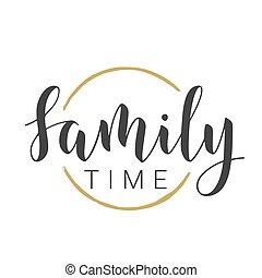 字母, time., 手寫, 矢量, 股票, illustration., 家庭