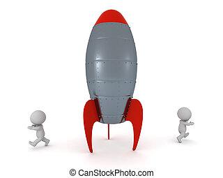 字符, 去, 跑, 火箭, 3d