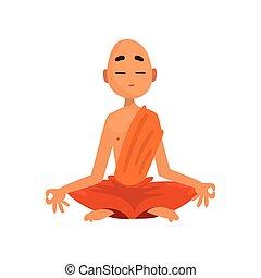 字, 佛教徒, 考慮, 僧侶, 插圖, 卡通, 矢量, 背景, 橙, 白色, 長袍