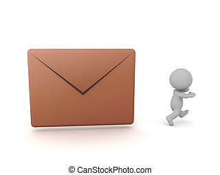 字, 信封, 跑, 郵件, 3d, 去