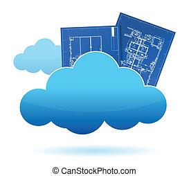 存储, 云, 蓝图, 植物
