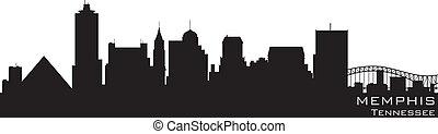 孟菲斯, 田納西, skyline., 詳細, 矢量, 黑色半面畫像