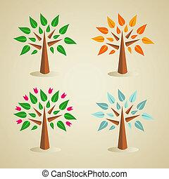 季節的, セット, 木, カラフルである