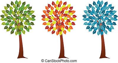 季節的, セット, 木