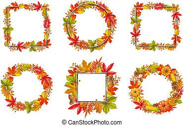 季節的, セット, 秋, フレーム