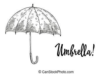 季節的, 傘, 開いた, contoured, 隔離された, コレクション, 秋, バックグラウンド。, 白, illustration.