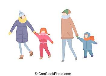 季節的, 冬, 家族, 出費, 時間, 活動