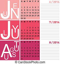 季節的, 夏, 8月, 6月, jazzy, ベクトル, 含む, 2014, カレンダー, 7月