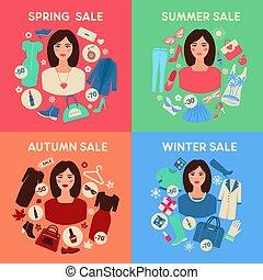 季節的, 平ら, 女性買い物, セール, デザインを設定しなさい