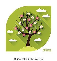 季節的, 平ら, 春, 木, イラスト, style.
