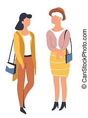 季節的, 春, 女の子, 衣装, 流行, 友人, 衣服