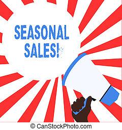 季節的, 概念, 単語, ビジネス, テキスト, 提供される, 執筆, sales., 割引, 商品, 特定, seasons.