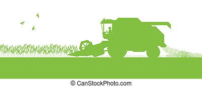 季節的, 概念, 収穫機, エコロジー, コンバイン, 農業, 農業, 風景