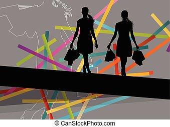 季節的, 袋, 買い物, 抽象的, イラスト, シルエット, 背景, 活動的, 女性