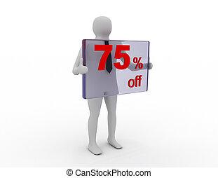 季節的, 離れて, pecent, 販売, 割引, 75, 買い物