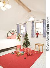 季節, 子供, 部屋, クリスマス, の間