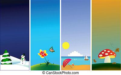季節, 旗, -, 4, 縦