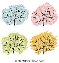 季節, 木, 木, 4, イラスト, abctract