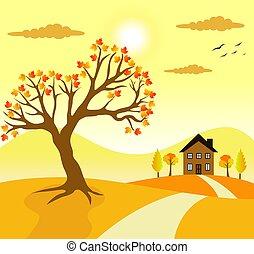 季節, 村, 光景, 秋