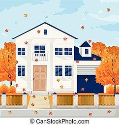 季節, 秋, 背景, フランス語, 秋, ファサド, 建築, vector., 家, コテッジ, 白