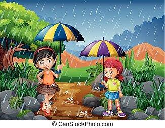 季節, 雨, 公園, 2人の少女たち