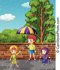 季節, 雨, 子供, 3, 雨