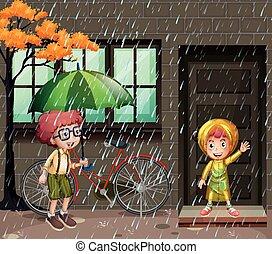 季節, 雨, 2, 雨, 男の子