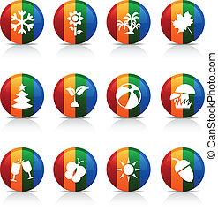 季節, buttons.