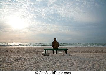 孤独, によって, ∥, 海