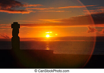 孤独, イースター, 日没, moai, 島