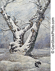 孤独, 木, オーク, 冬