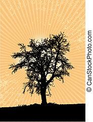 孤独, 木, 黄色, バックグラウンド。, 光線, vector.