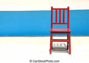 孤独, 椅子, 在中, a, 明亮, 背景