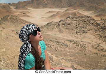 孤独, 美しい, 女の子, 中に, ∥, desert.