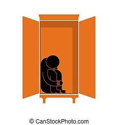 孤独, cupboard., 人間が座る, 憤慨, concept., 恐れ