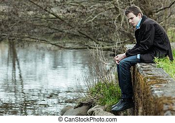 孤獨, 年輕, 青少年男孩