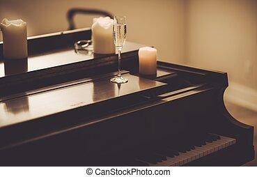 孤獨, 晚上, 由于, 鋼琴