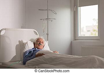 孤獨, 病人, 在, 醫院